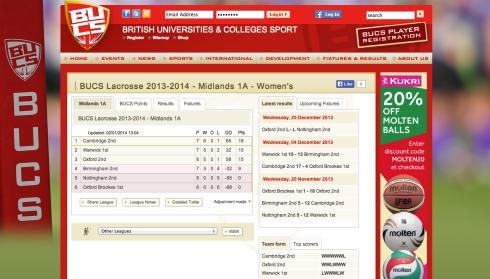 BUCS Midlands 1A Scoreboard